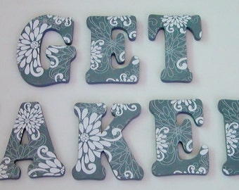 "Wood Letters- 7"" Decorated Letters- ""GET NAKED"" Bathroom Decor- MANY designs available-Design G1"