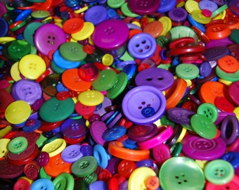 Rainbow Buttons - Lovely Mixed Buttons Mix Weights - Bags Various Sizes and Colours