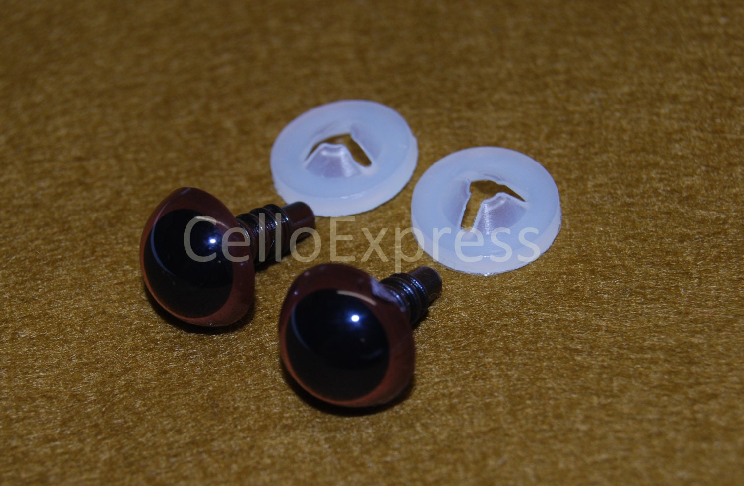 Mm Glass Brown Teddy Bear Eyes With Flat Backs