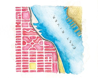 East Village | Stuytown | Alphabet City | NYC Street Grid | Hand painted map | 02.07