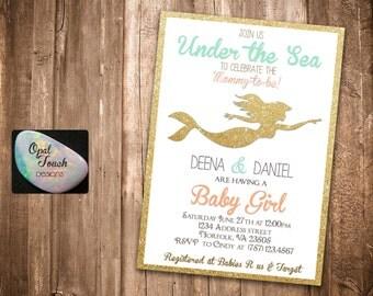 Mermaid Baby Shower Invitation Gold Outline