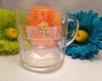 White Castle Hamburgers 70th Anniversary Etched Glass Coffee Mug byLuminarc