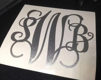 GLITTER Monogram Vinyl Decal, Circle, Vine Script, Empress