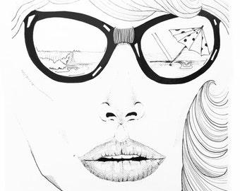 Summer Girl Pen & Ink Print