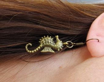 Bronze Plated Seahorse Earrings Seahorse Jewelry Nautical  Brass Seahorse earrings Summer jewelry