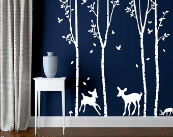 Deer White Tree Wall Decal-Deer Tree Wall Decal-Forest Tree Sticker-Removable Tree Decal Nursery-Personalized Tree Wall Murals Decal