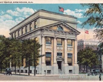 Masonic Temple Birmingham Alabama Postcard Vintage Antique