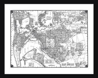 San Diego Vintage Map - San Diego - White - Print - Poster