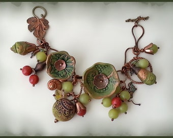 Charm bracelet''Solar berry'',style boho/folk. Size-M 19.5cm(7.6in),color-green.