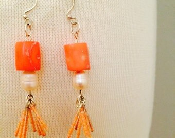 Fringe Coral - Freshwater Pearl and Seed Beads