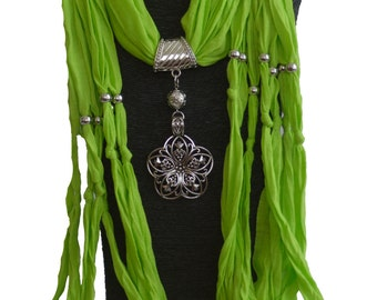 Fashion Jewelry Scarf Silver Flower Pendant