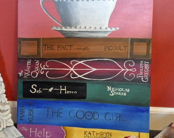 """Bookstack of Favorite Titles, Custom Hand Painted, 16""""x20"""" Canvas"""
