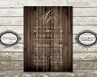 Country Rustic Wood Wooden Wedding Invitation Digital Download File