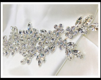 Rhinestone Flower Leaves Branch Bridal Applique (swarovski shine) #0138