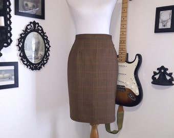 Brown Plaid Skirt, St. Michael Size 10