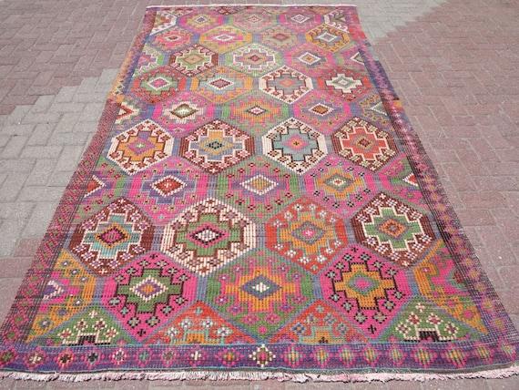 "TURKISH Kilim Rug , Kilim Rug , Rugs , Colorfull Kelim Rug ,65"" x 121"" Area Rug Kilim , Kilim , Rug"