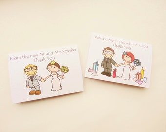 Personalised Wedding Thank you Cards - Holding Hands Pose. Everything can be customised!