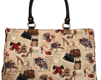 Tapestry Handbag Glamour Leather Goblin 30x39cm (11.8 X 15.4 inches)