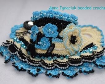 Handmade beaded crochet cotton cuff bracelet
