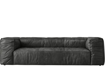 Rufus Noir Leather Sofa, TAG by Tandem Arbor