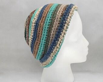 Green and Brown Crochet Beanie
