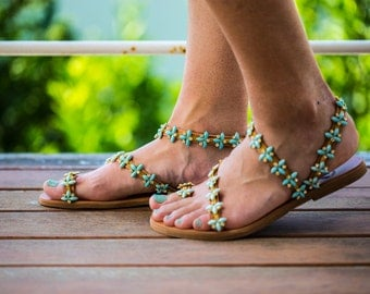 Genuine leather sandals with turquoise opal & transparent crystals