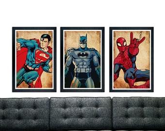 "Superhero Minimalistic Poster Set, Batman, Superman, Spiderman, Minimalistic Poster Series, 11""x17"""