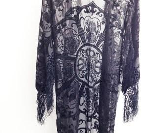 Black Kimono Fringe Jacket