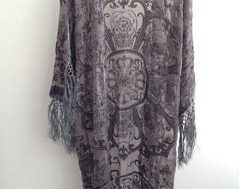 Grey Kimono Fringe Jacket