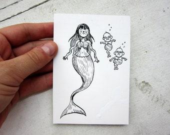 Dessin original - Sirène et sireneaux