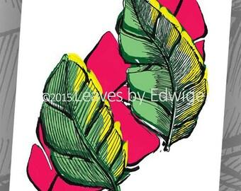 Green Pink tropical art print- banana leaf print- 8x10 inches - tropical art print - archival quality print -home decor wall art