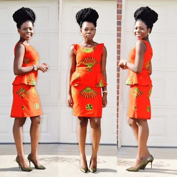 African Print Dress Ankara Print Dress African Clothing Peplum Orange