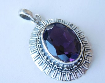 Sterling Silver And Natural Amethyst Necklace Pendant