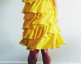Yellow Tiered Ruffle Dress