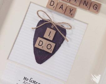Wedding Gift - Personalised Scrabble Art Frame - Bride- Groom - Gift - Present - Keepsake - Wedding Day - Marriage - I DO - Anniversary LOVE