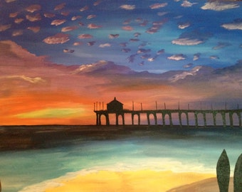 """Manhattan Beach Sunset 24"""" x 30"""" - Acrylic on Canvas"""