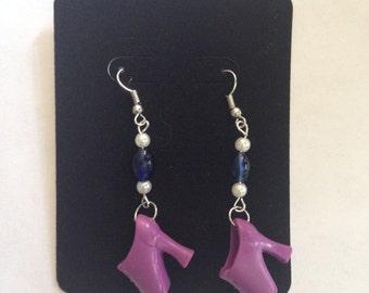 Handmade Purple Booty Barbie Shoe Earrings