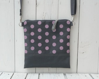 Polka dots Crossbody bag, Printed bag - zippered canvas bag - shoulder bag - festival bag - grey and pink