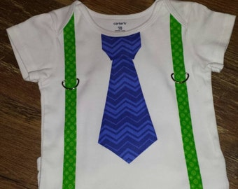 Custom Tie and Suspenders onesie; you choose the colors and Tie or Bowtie!