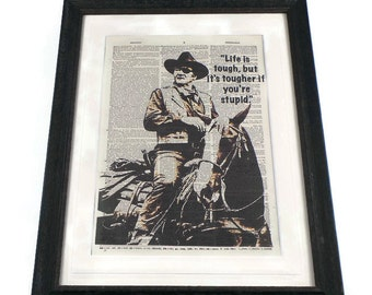 John Wayne Vintage Dictionary Art Print In Shabby Chic Picture Frame Or Unframed