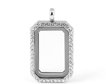 HERITAGE Floating Locket, Silver Glass Lockets, Memory Locket With Crystals