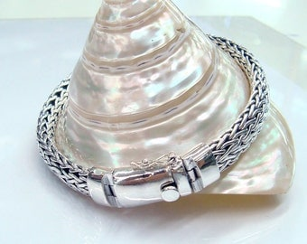 Silver bracelet 925 sterling silver hand woven chain Oval shape Width 9mm,thickness 5mm.