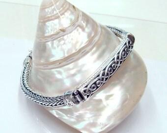 Bracelet 925 sterling silver celtic style,handmade woven chain