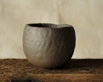 stoneware pinchpot wabi sabi style