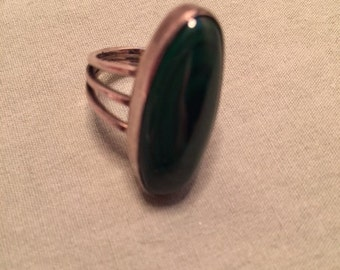 Vintage Estate Malachite & Sterling Silver Ring Size 6