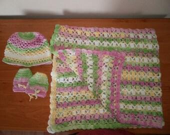 Baby blanket+hat+mittens crochet multicolored