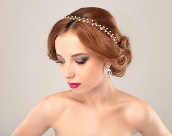 Wedding Headband, Gold Wire Tiara, Crystal Headpiece, White Crystal Crown, Wedding Crown Headband, Head piece, Special occasion accessory