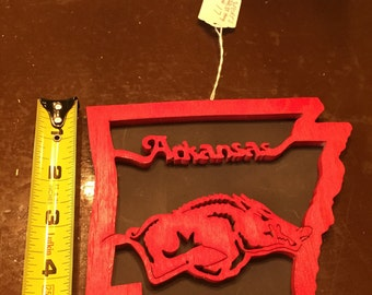 "Handmade ""Arkansas"" Razorback decor"