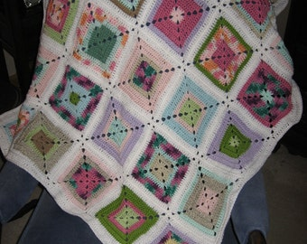Custom Designed Crocheted Granny Square Baby Afghan