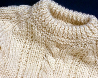 Cream Aran Patter Round Neck Jumper